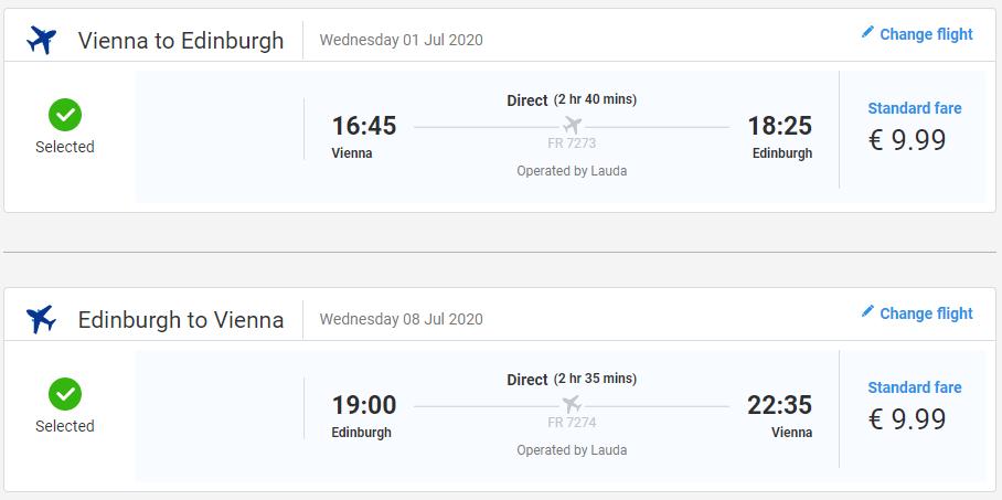 Edinburgh z Viedne počas leta s letenkami od 20 eur