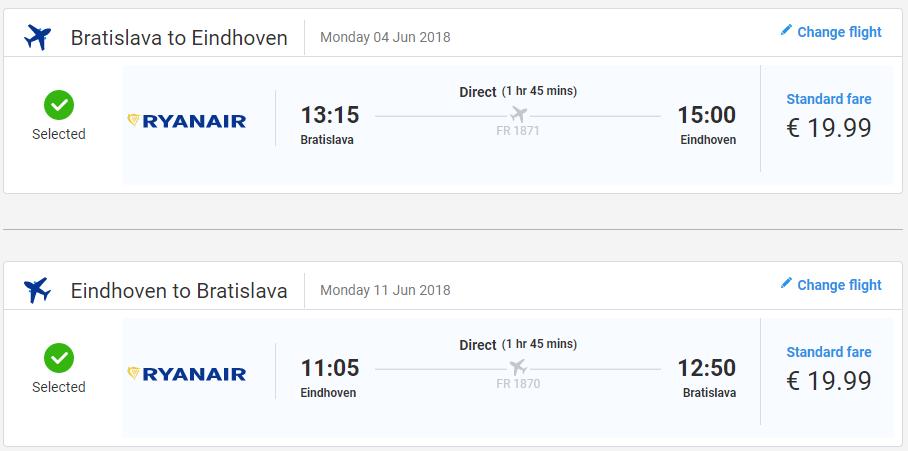Eindhoven z Bratislavy v júnových termínoch od 40 eur