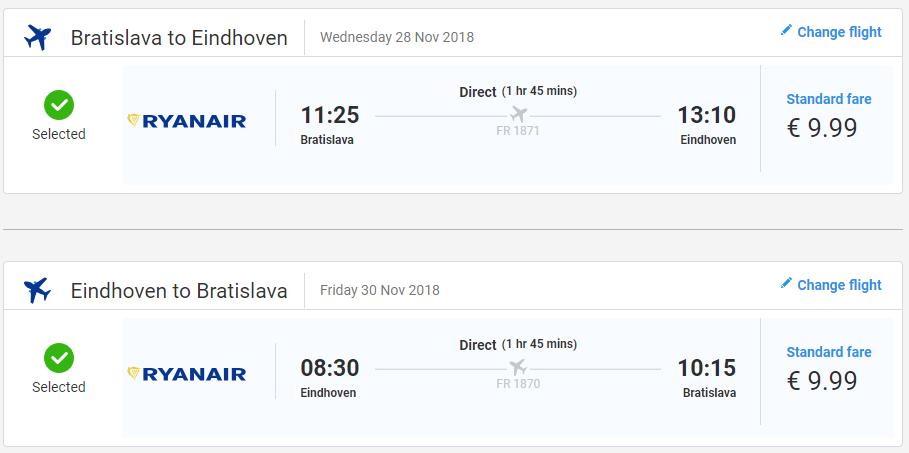 Eindhoven z Bratislavy v jesenných termínoch od 20 eur