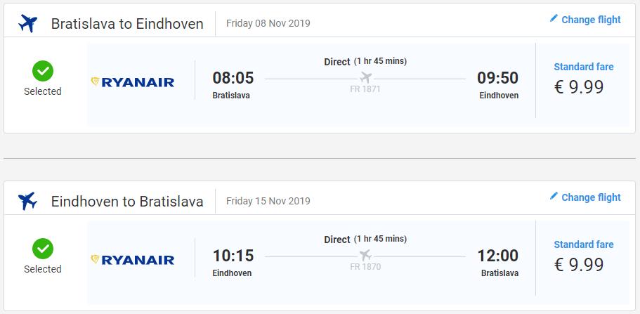 Eindhoven z Bratislavy v jesenných termínoch s letenkami od 20 eur