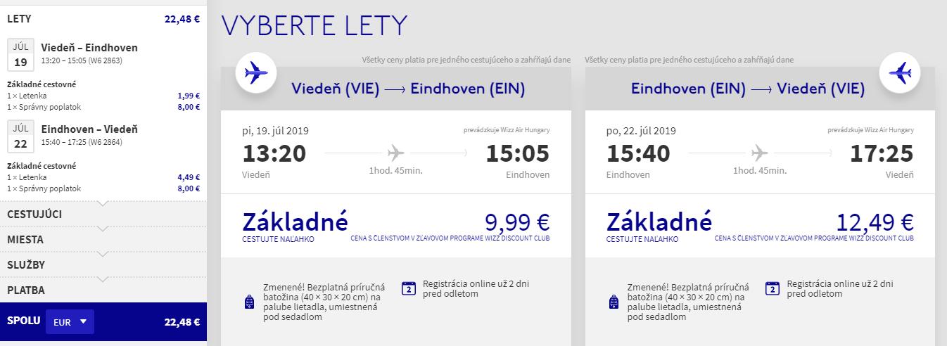 Eindhoven z Viedne aj na predĺžený víkend s letenkami od 22 eur