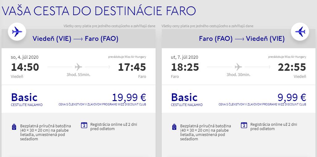 Faro z Viedne počas leta s letenkami už od 30 eur