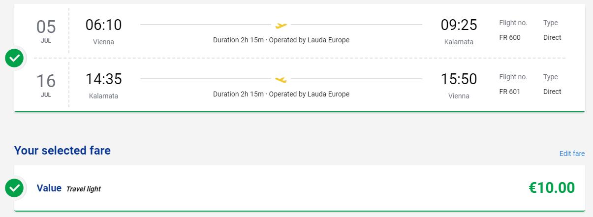 Grécka Kalamata počas letných prázdnin s letenkami z Viedne od 10 eur