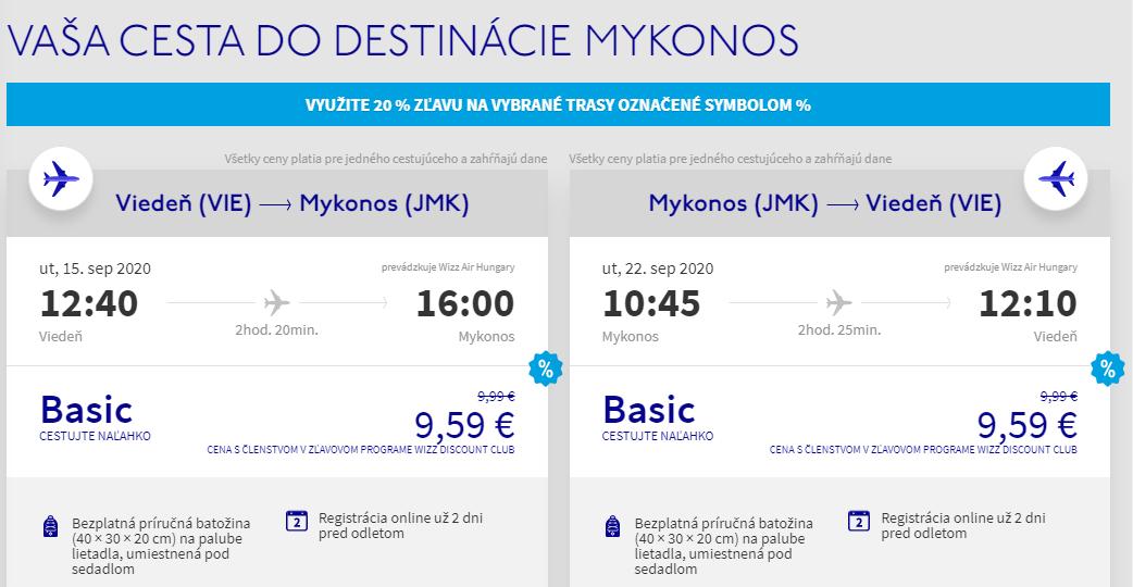 Grécky ostrov Mykonos koncom leta. Spiatočné letenky z Viedne od 19 eur