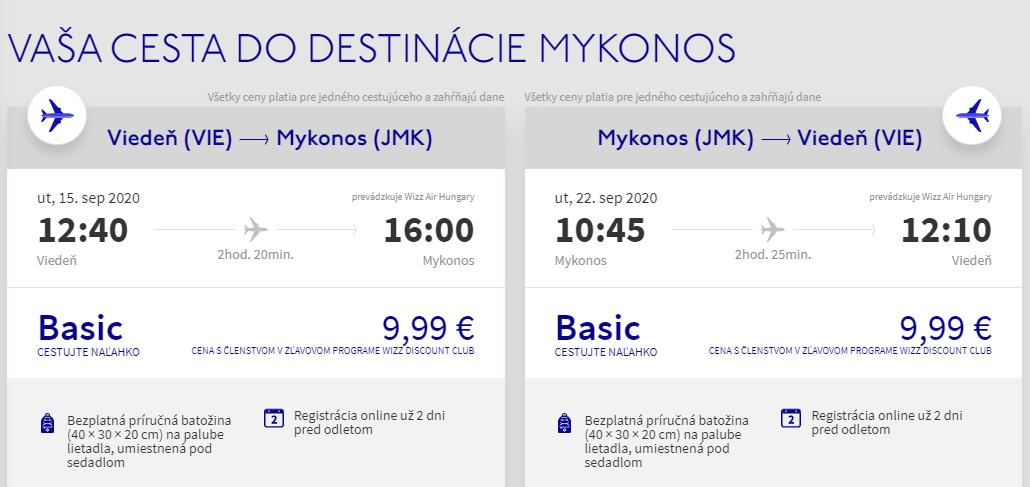 Grécky ostrov Mykonos koncom leta. Spiatočné letenky z Viedne od 20 eur