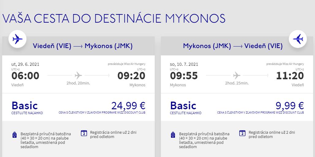 Grécky ostrov Mykonos začiatkom prázdnin. Spiatočné letenky z Viedne od 35 eur