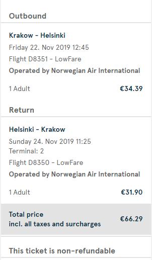 Helsinky z Krakova s letenkami aj na víkend od 66 eur