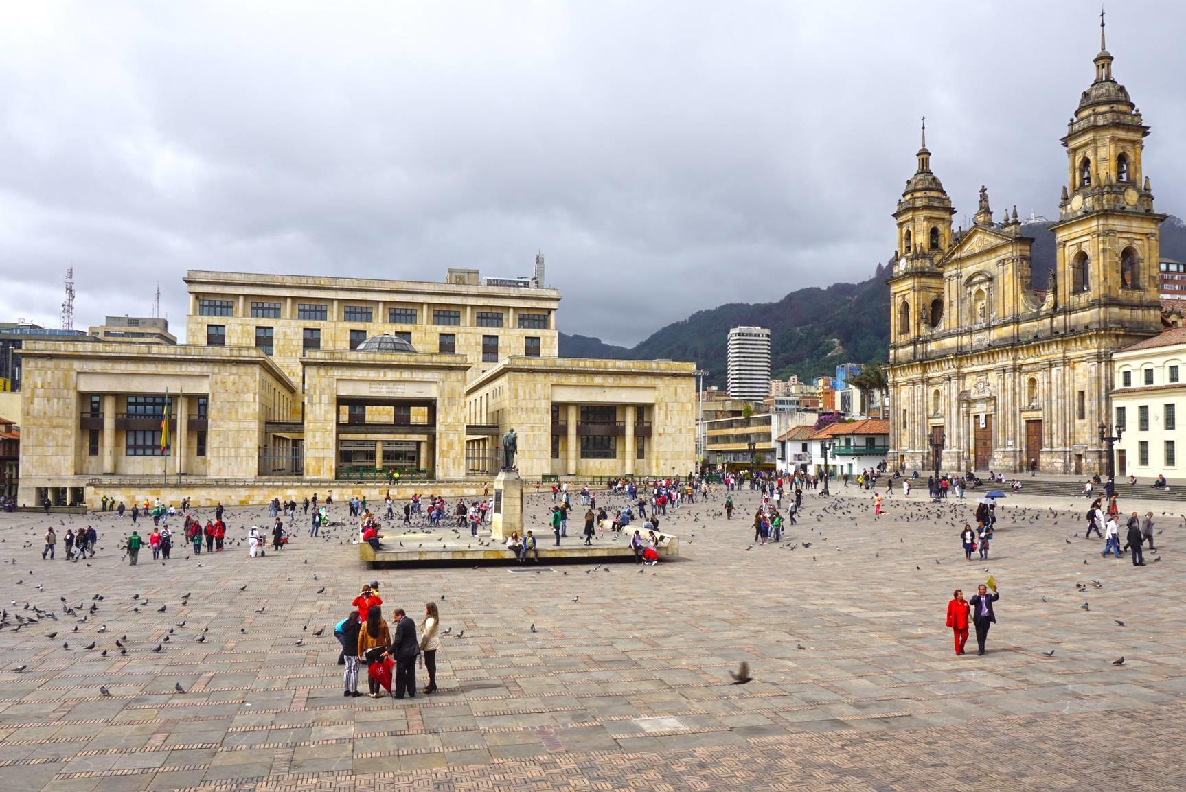 Hlavné námestie Bolivar v Bogote.