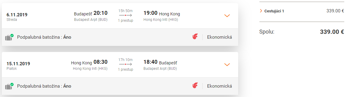 Hong Kong z Budapešti s letenkami od 339 eur