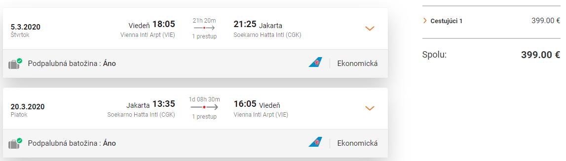 INDONÉZIA - Jakarta z Viedne s letenkami od 399 eur
