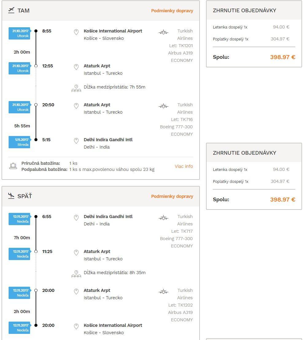 Indické Dillí z Košíc s let.spoločnosťou Turkish Airlines od 399€