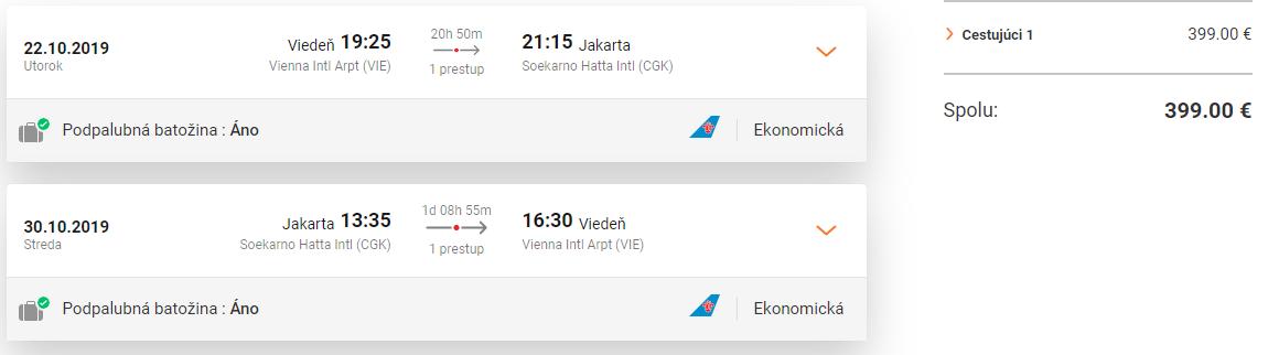 Jakarta z Viedne s letenkami od 399 eur