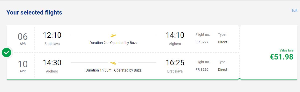 Jarná Sardínia - Alghero z Bratislavy s letenkami od 52 eur