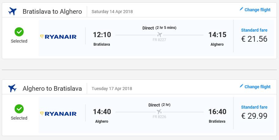 Jarná Sardínia z Bratislavy s letenkami od 52 eur