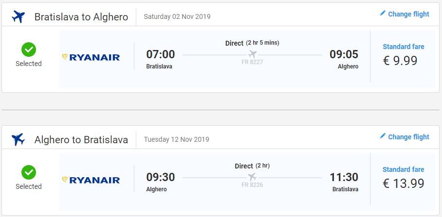 Jesenná Sardínia z Bratislavy. Letenky do Alghera od 24 eur