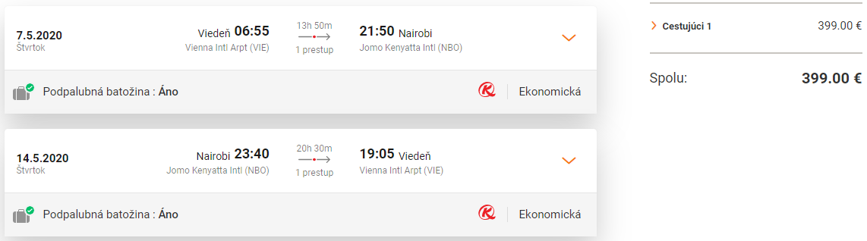 KEŇA - Nairobi z Viedne s letenkami od 399 eur