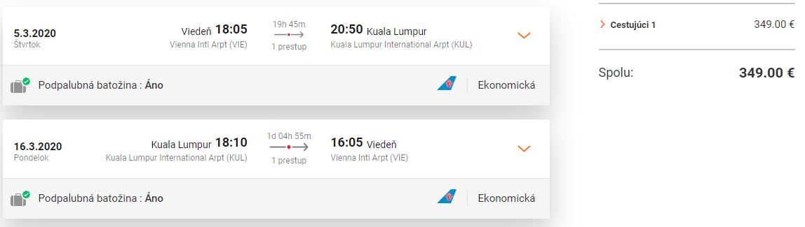 KUALA LUMPUR - Letenky z Viedne v termínoch začiatkom roka od 349 eur