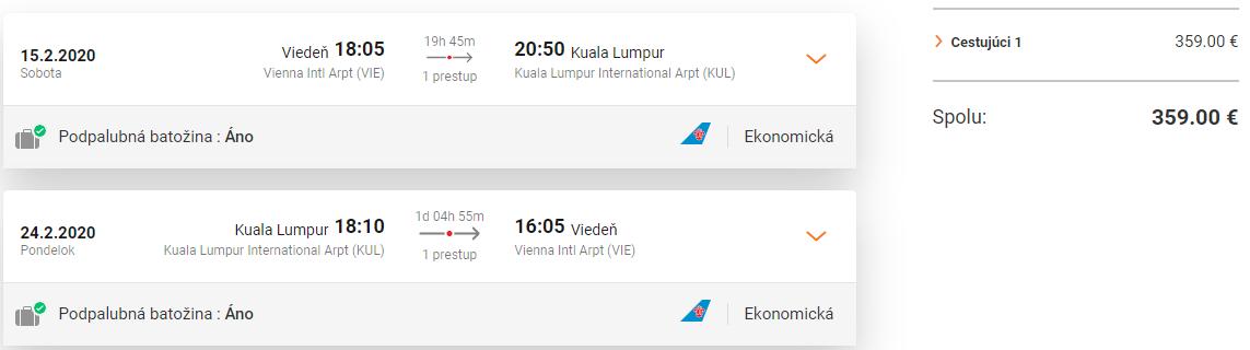 KUALA LUMPUR - Letenky z Viedne v termínoch začiatkom roka od 359 eur