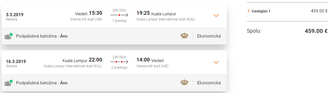 KUALA LUMPUR - Spiatočné letenky z Viedne už od 459 eur