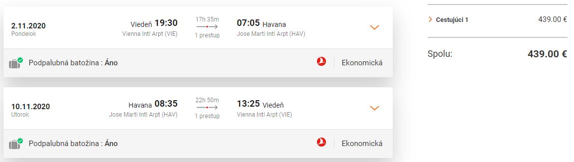 KUBA S TURKISH AIRLINES - Spiatočné letenky z Viedne do Havany od 439 eur