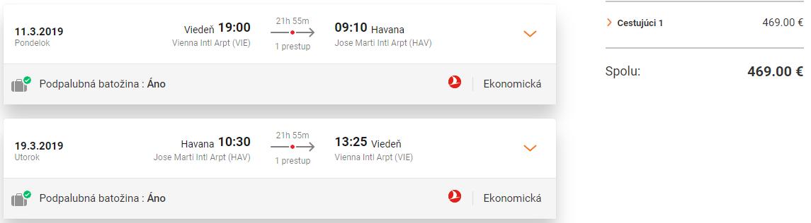 KUBA S TURKISH AIRLINES - Spiatočné letenky z Viedne do Havany od 469 eur