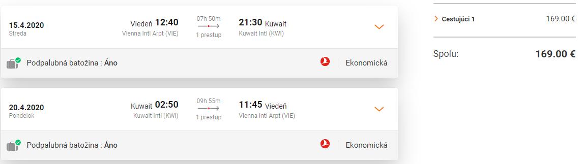 KUVAJT S TURKISH AIRLINES - Letenky z Viedne už od 169 eur