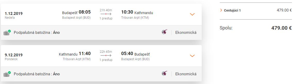 Kathmandú z Budapešti s Qatar Airways s letenkami od 479 eur