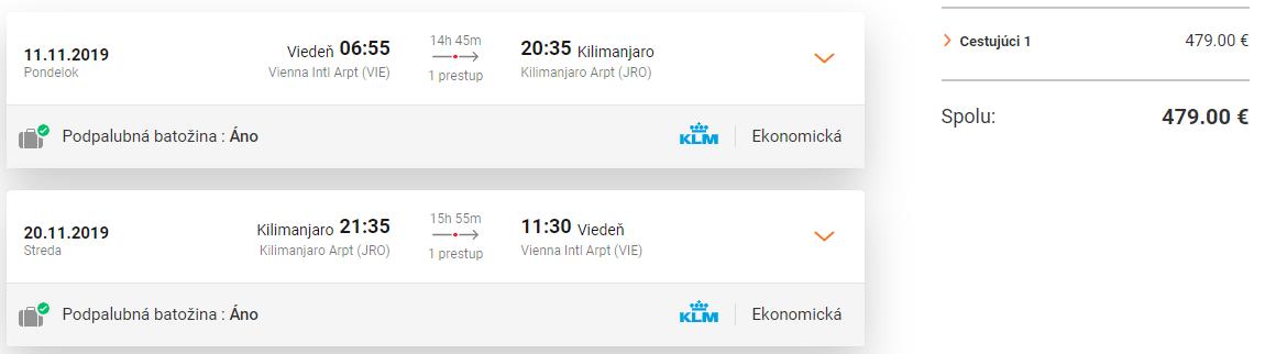 Kilimanjaro z Viedne KLM od 479 eur