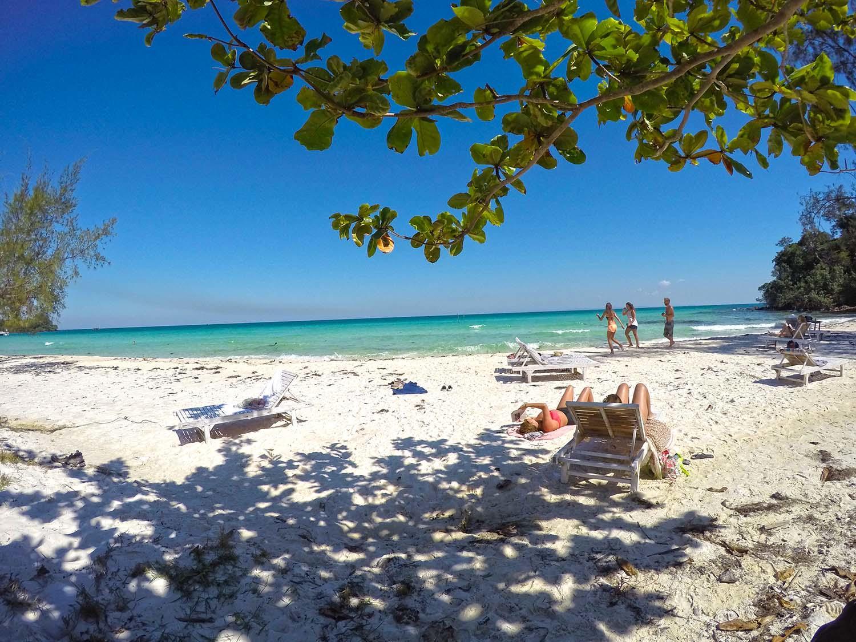 Kokosova plaz na ostrove Koh Rong.