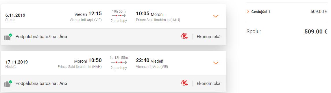 Komorské ostrovy z Viedne s letenkami už od 509 eur