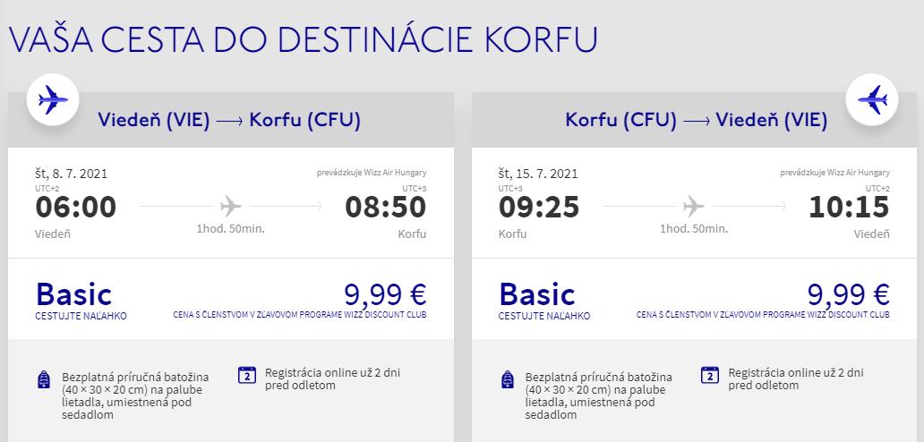 Korfu z Viedne cez letné prázdniny s letenkami od 20 eur