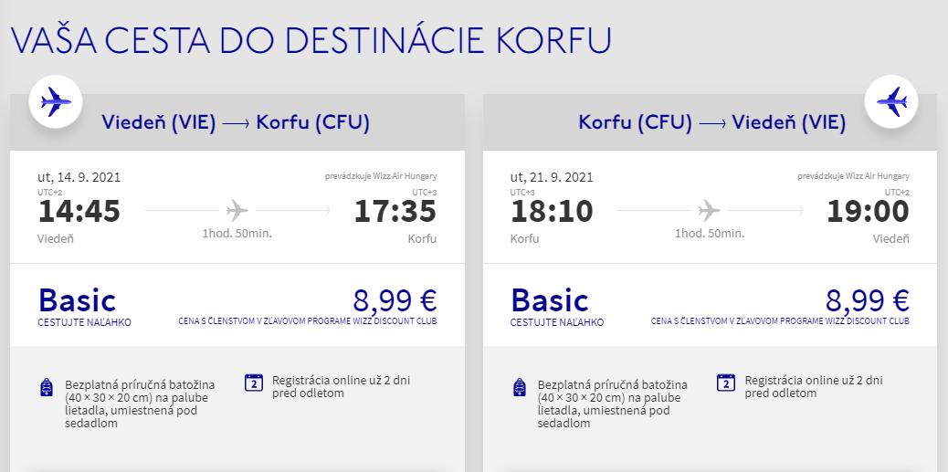 Korfu z Viedne v septembrových termínoch s letenkami od 18 eur