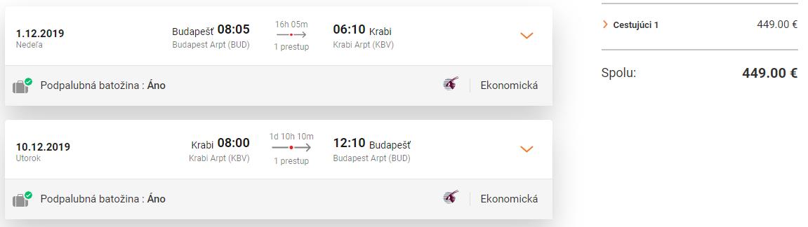 Krabi z Budapešti s Qatar Airways od 449 eur