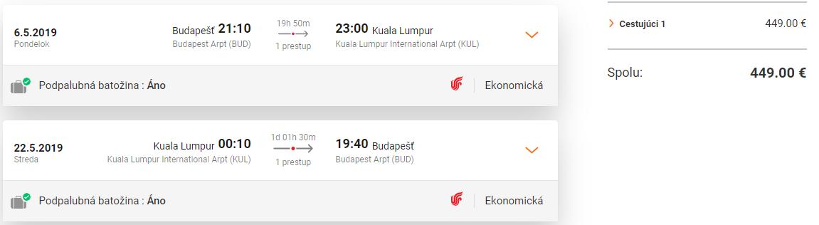 Kuala Lumpur z Budapešti aj s podpalubnou batožinou od 449 eur