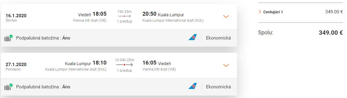 Kuala Lumpur z Viedne s letenkami od 349 eur