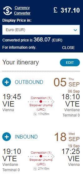 Vientiane z Viedne s letenkami od 368 eur