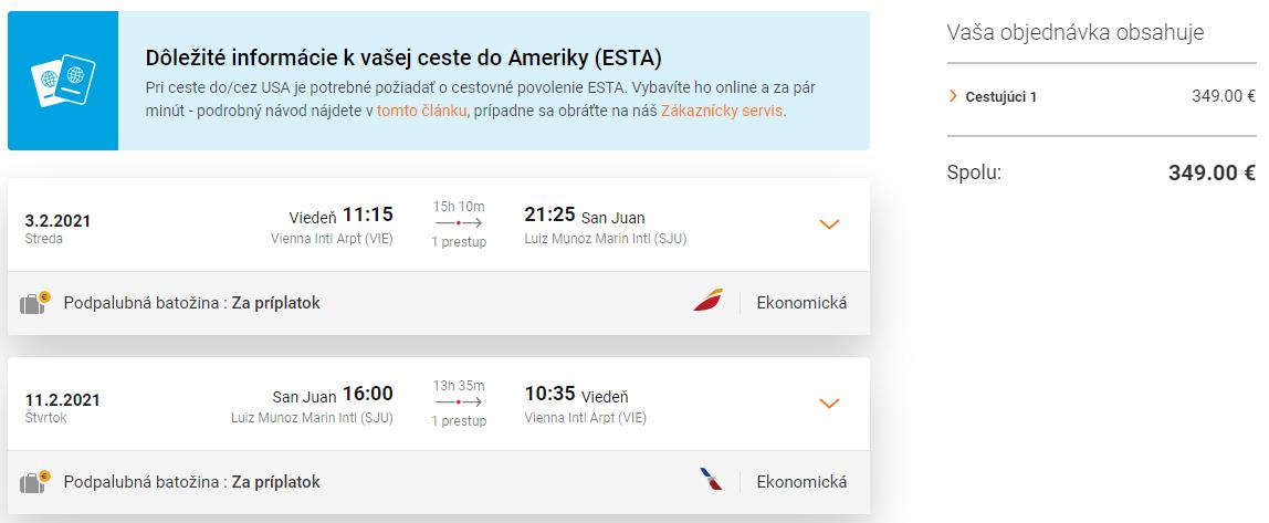 LETENKY DO KARIBIKU - Portoriko z Viedne už od 349 eur