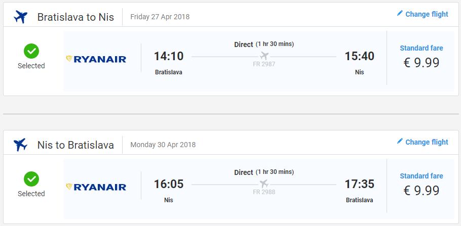 LETENKY DO SRBSKA - Niš z Bratislavy aj na predĺžený víkend od 20 eur