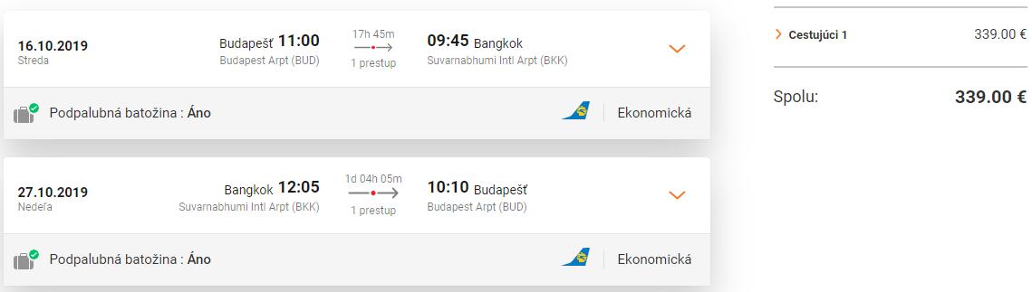 LETENKY DO THAJSKA - Bangkok z Budapešti od 339 eur