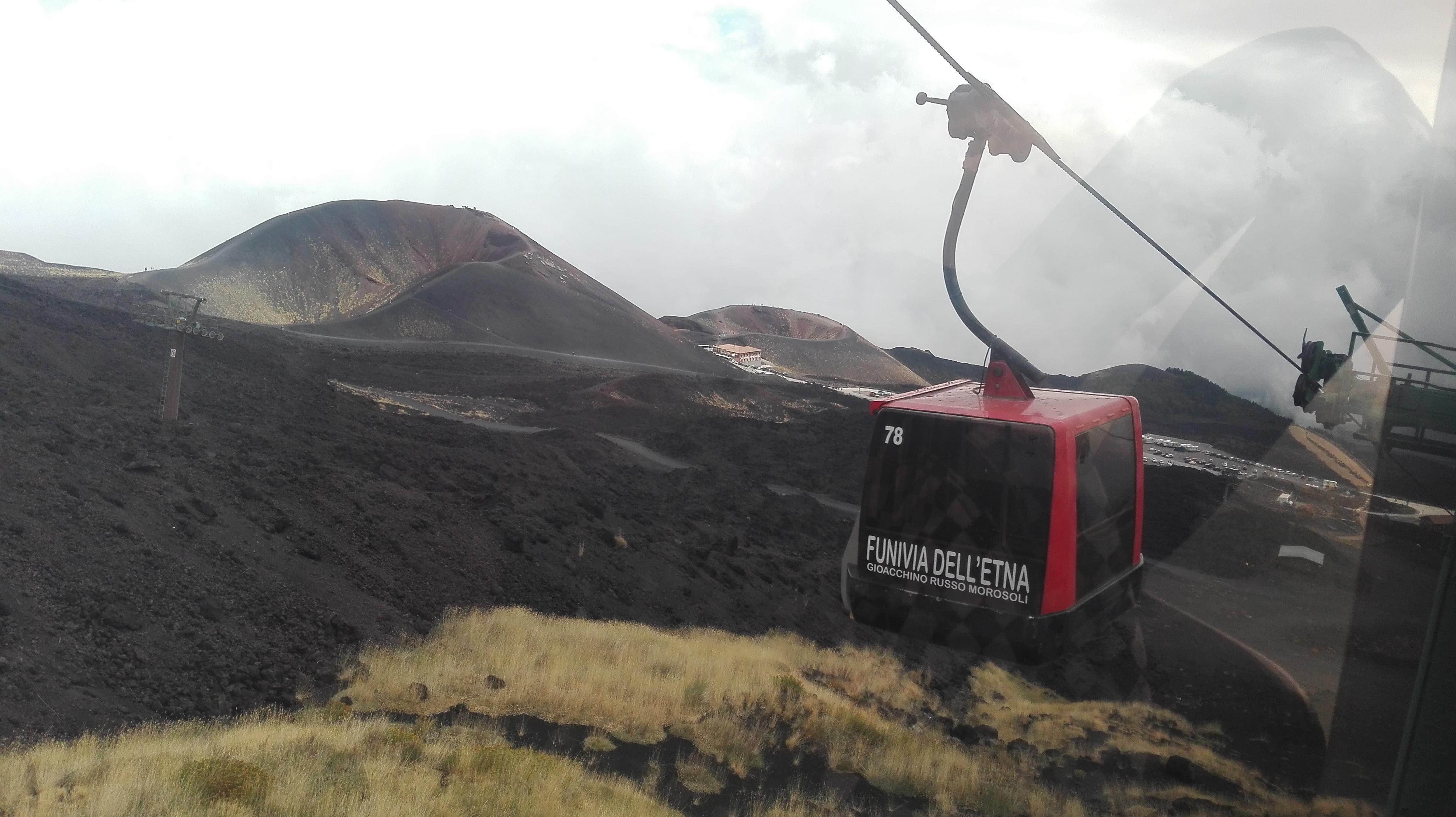 Lanovkou na Etnu s výhľadom na menšie krátery