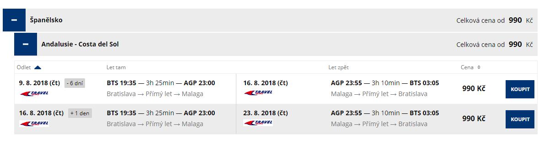 Last-minute letenky z Bratislavy do Malagy od 39 eur
