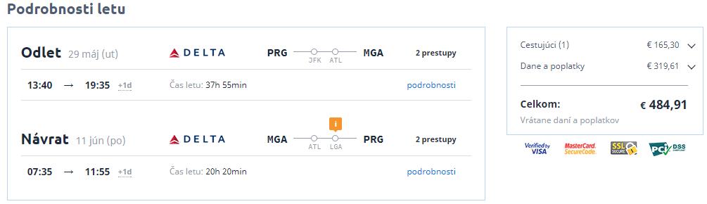 Letenky Praha Managua 485 eur
