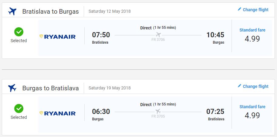 Letenky do Burgasu v májových termínoch od 10 eur