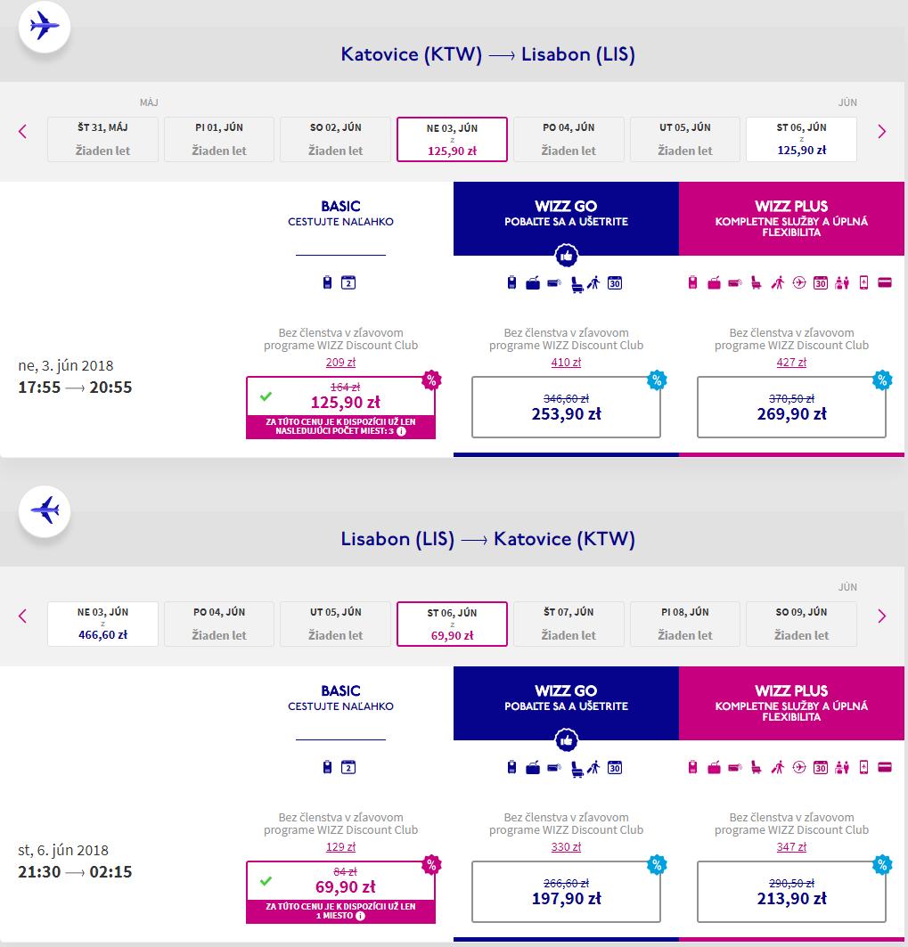 Letenky do Lisabonu v júnových termínoch od 46 eur