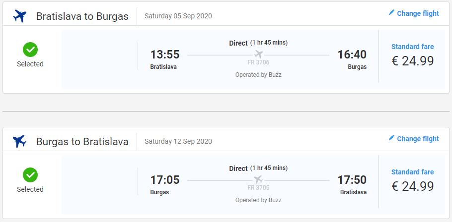 Letenky z Bratislavy do Burgasu od 50 eur