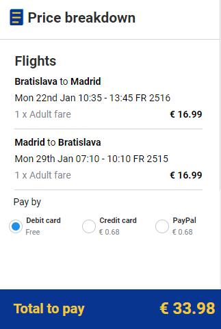 Letenky z Bratislavy do Madridu 34 eur