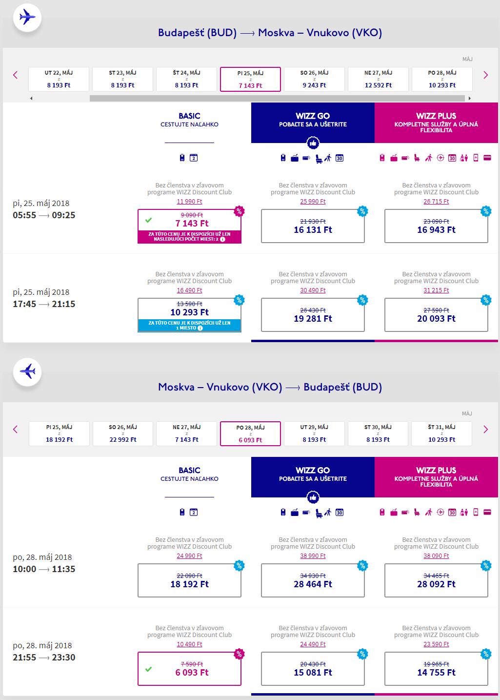 Letenky z Budapešti do Moskvy od 42 eur