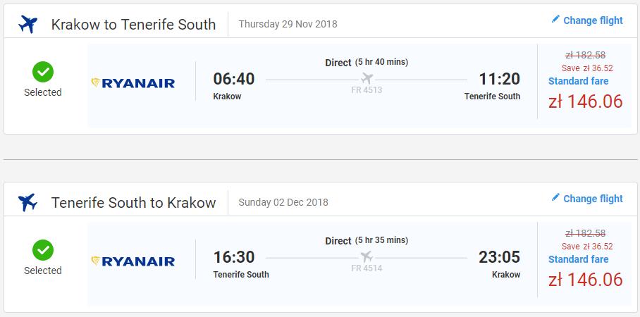Letenky z Krakova na Tenerife už od 68 eur