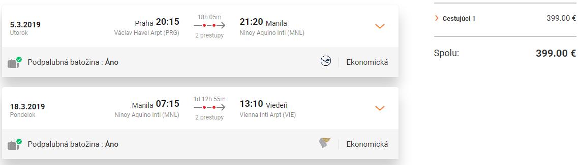 Letenky z Prahy do Manily s návratom do Viedne od 399 eur