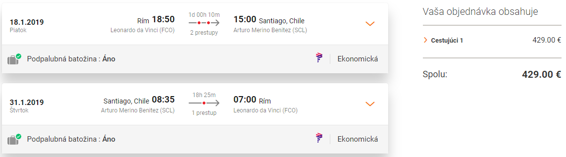 Letenky z Ríma do Santiago de Chile od 429 eur